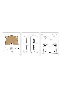 Quadro 40X90Cm Infantil Amor De Urso Moldura Branca Com Vidro Decorativo