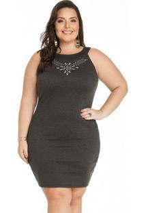 Vestido Miss Masy Escuro Com Pedras Plus Size - Feminino-Chumbo