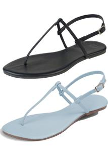 Kit 2 Pares Sandália Flat Simples Mercedita Shoes Napa Preto E Azul Bebe
