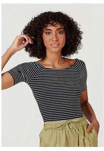 Blusa Básica Feminina Em Malha De Algodão Com Decote Canoa