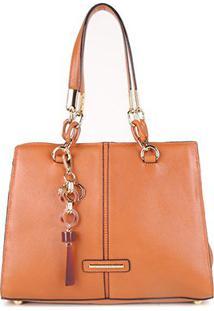 Bolsa Couro Jorge Bischoff Tote Shopper Lisa Com Charm Bag Feminina - Feminino-Marrom Claro