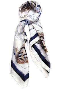 Lenço Smm Acessorios Nautica Off White E Azul