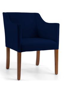 Poltrona Decorativa Fixa Base Madeira Lila Veludo Azul Marinho B-287 - Lyam Decor