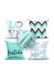 Jogo De Capa De Almofada Decorativa Love Tiffany Para Quarto 4 Unidades + Almofada Nó Escandinavo