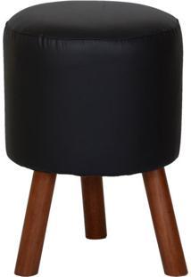 Puff Round Leather Pés De Madeira Preto