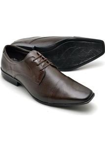 Sapato Social Couro Texturizado Reta Oposta Masculino - Masculino-Marrom
