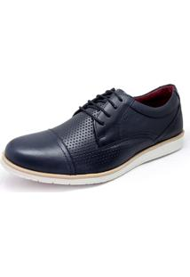 Sapato Sapatênis Casual Oxford Couro Masculino Nobuck Confort Furadinho Khaata Marinho