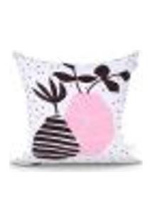 Capa Para Almofada Rosa E Branca Estampada Para Cama 45Cm X 45Cm Com Zíper Tecido Microfibra