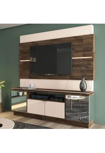 Estante Para Home Theater E Tv Até 60 Polegadas Flexo Off White E Marrom Deck