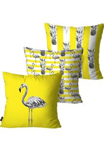 Kit Com 3 Capas Para Almofadas Decorativas Amarelo Flamingos 45X45Cm Pump Up - Amarelo - Dafiti
