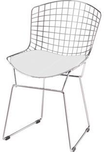 Cadeira Bertoia Cromada - Assento Corino Branco