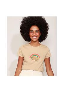 "Camiseta Feminina Vira-Lata Caramelo"" Manga Curta Decote Redondo Bege"""