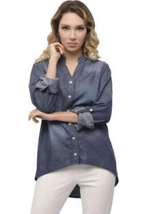 Camisa Jeans Miss Joy Manga Longa Azul Escuro