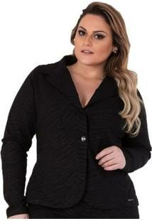 Blazer Confidencial Extra Plus Size Em Sarja Feminino - Feminino-Preto