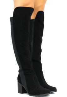 Bota Zariff Shoes Montaria Nobuck Zíper Feminina - Feminino-Preto