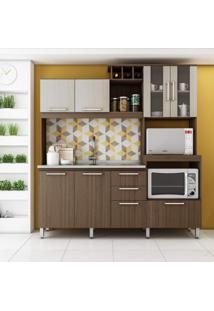 Cozinha Compacta 7 Portas 3 Gavetas 2050 Delmarco Móveis Castanho Argel/Casablanca