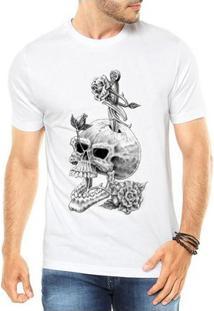 Camiseta Criativa Urbana Caveira Flores Style - Masculino-Branco