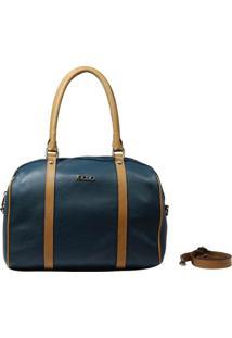 Bolsa Em Couro Recuo Fashion Bag Baú Oceano/Ocre