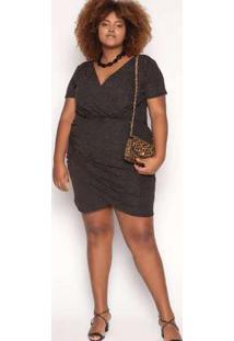 Vestido Curto Almaria Plus Size Sinap Lurex Preta Preto