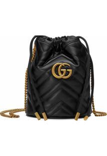 Gucci Bolsa Bucket Gg Marmont Mini - Preto