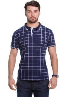 Camisa Polo Javali Marinho Xadrez