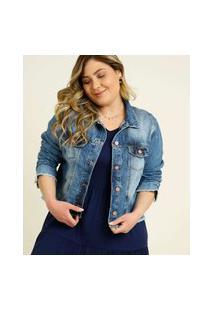 Jaqueta Plus Size Feminina Jeans Bolsos Razon