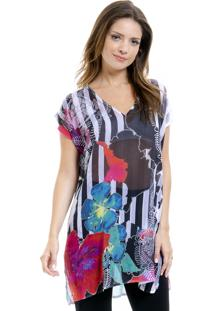 Blusa Estampada 101 Resort Wear Tunica Decote V Crepe Fendas Listrado Floral Preto