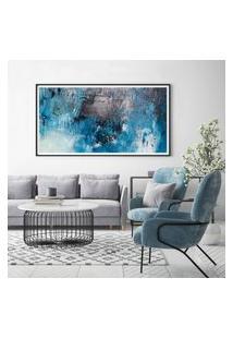 Quadro Com Moldura Chanfrada Abstrato Azul Com Cinza 60X130