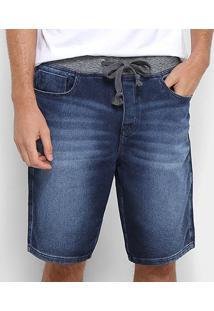 Bermuda Jeans Acostamento Cós Moletom Masculina - Masculino