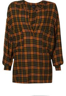 Camisa Rosa Chá Giuliana Crepe Xadrez Feminina (Xadrez Laranja E Verde, G)