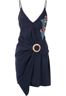 Patbo Vestido Curto Com Fivela E Bordado - Azul
