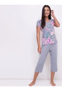Pijama Floral Com Detalhe Em Renda