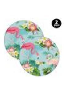 Sousplat Mdecore Flamingo 35X35Cm Azul 2Pçs
