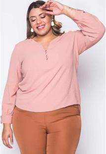 Blusa Almaria Plus Size Melonica Creponada Rosa