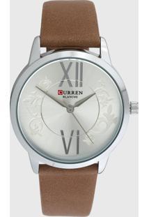 Relógio Curren C9049L Bege/Prata - Kanui
