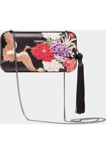 Bolsa Clutch Com Bordado Arte Japonesa - Lez A Lez