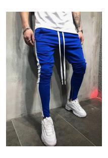 Calça Masculina Striped Slim Duas Cores - Azul E Branco