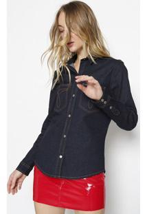 Camisa Jeans Com Bolso - Azul Escurocalvin Klein
