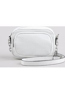 Bolsa Feminina Transversal Pequena Com Textura Croco E Corrente Branca