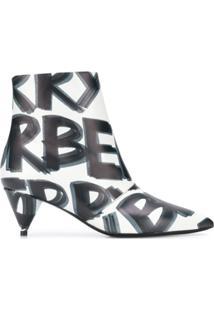 Burberry Ankle Boot Com Estampa De Couro - Branco