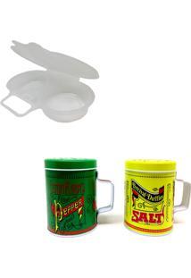 Kit Com Panela De Microondas Para Ovo Pochet E Saleiro Pimenteiro Prana Old Fashioned Verde/Amarelo