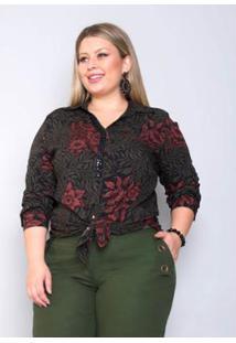 Camisa Plus Size Palank Ousadia Feminina - Feminino-Vinho