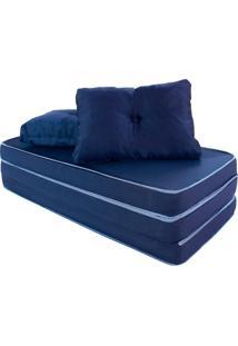 Puff Multiuso 3 Em 1 Casal Azul Tecido Corvin Com Travesseiro Bf Colchões