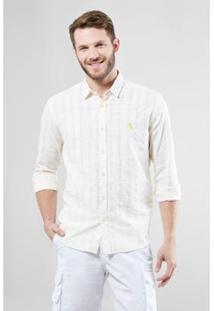 Camisa Regular Reserva Textura Horizontal Verano Masculina - Masculino