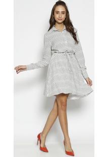 Vestido Com Botãµes - Branco & Preto - Moiselemoisele