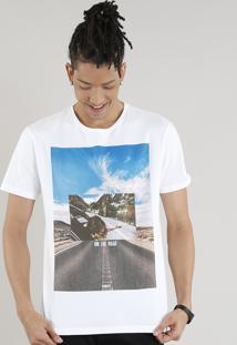 "Camiseta Masculina ""On The Road"" Manga Curta Gola Careca Off White"