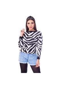Blusa Moda Vício Manga Longa Tricô Zebra Preto E Branco