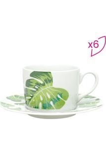 Jogo De XãCaras Para Chã¡ Folhas- Branco & Verde- 6Pã§Wolff