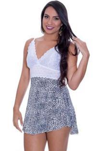 Camisola Estilo Sedutor Renda Oncinha Liganete Feminina - Feminino-Branco+Preto