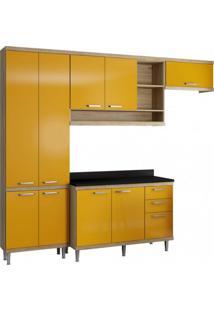 Cozinha Completa Com Tampo 9 Portas 5 Peças Sicília Multimóveis Argila/Amarelo